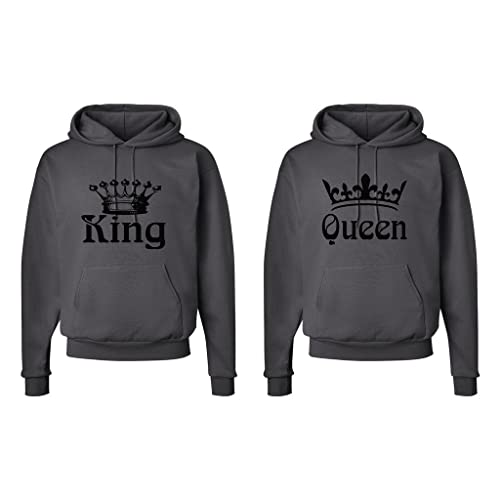 cde0f9e500 FASCIINO Matching His & Hers Couple Hooded Sweatshirt Set - King and Queen  Crowns