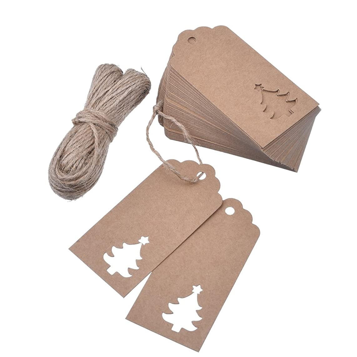 Outus 100 Pieces Kraft Paper Gift Tags Hollow Christmas Tree Design with 66 Feet Twines for Wedding Favor Christmas (Brown)