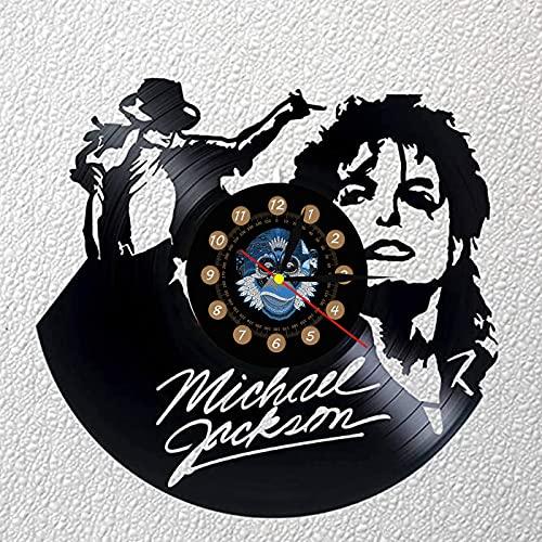 TeenieArt Reloj De Pared con Disco De Goma Negro Retro Diseño Moderno Música Pop De Música Michael Jackson Decoración del Hogar Sin Led