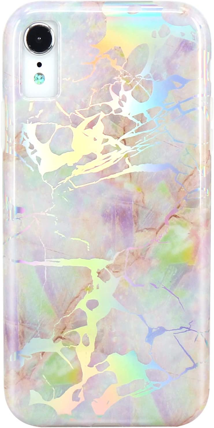 JIAXIUFEN iPhone XR Case Shiny Change Color Opal Colorful Marble Slim Shockproof Flexible Bumper TPU Soft Case Rubber Silicone Cover Phone Case for iPhone XR