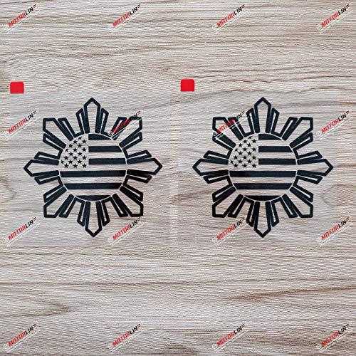 2X Black 4'' Philippines American USA Flag Sun Star Filipino Decal Sticker Car Vinyl no bkgrd