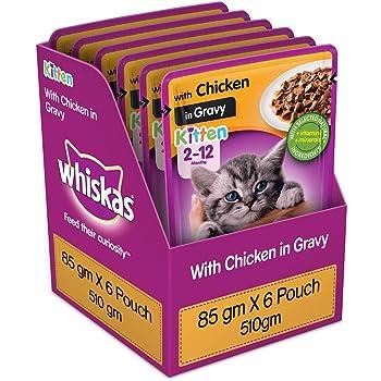 Whiskas Kitten (2-12 months) Wet Cat Food, Chicken in Gravy, 6 Pouches (6 x 85g)