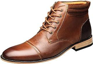 ANUFER Hommes Vintage Lacets Cuir Bottines Zip Formel Chaussures Habillées