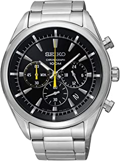 Seiko SSB087P1's Watch Quartz Chronograph Black Dial Steel Strap Grey