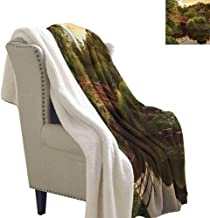 Japanese Blanket Small Quilt 60x32 Inch Peaceful Garden in Twilight with Reflections in Water Red Bridge on Pond Sunset Fleece Blanket Green Yellow