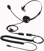 $23 » Telephone Headset with RJ9 Jack for Offices Landlines, Call Center Headphone w/Noise Cancelling Microphone for Business Ph...
