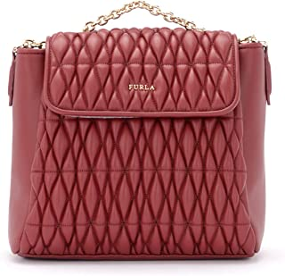 Furla Woman's Furla Pin Cometa Backpack In Quilted Cherry Leather Red