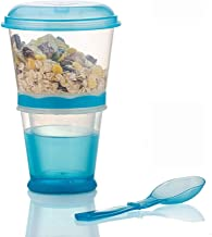 Cereal On the Go Cups Breakfast Drink Cups Portable Yogurt and Cereal To-Go Container Cup (Blue)