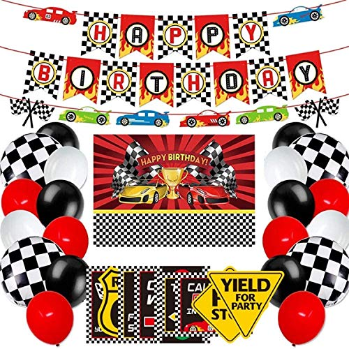 Racing Car Party Decoration and Supplies - Happy Birthday Race Car Backdrop, Racing Car Banner, Balloons and Racing Car Signs for Let's Go Racing Nascar Party Decorations