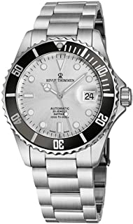 Revue Thommen Mens Automatic Diver Watch - 42mm Analog Silver Face Diving Watch with Luminous Hands, Date and Sapphire Crystal - Stainless Steel Metal Band Swiss Made Waterproof Dive Watch 17571.2127