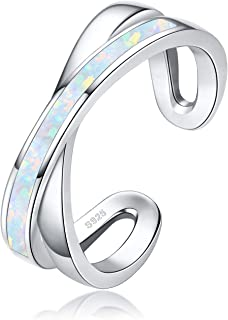 925 Sterling Silver Ring Synthetic Opal Ring Adjustable Ring for Women Men