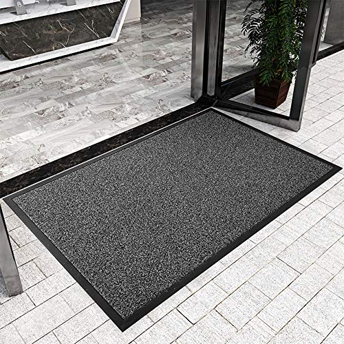 LAOSHIZI Felpudos Alfombrilla Antideslizante Felpudo de Entrada Goma Impermeable felpudos Entrada casa Alfombra Exterior para Puerta el tamaño es 60x90cm Negro