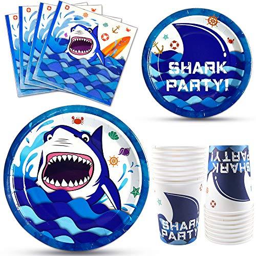 WERNNSAI Artículos para fiestas de Tiburones - Bajo el Mar Vajilla de Fiesta Placas Servilletas Tazas Kit para Niños Cumpleaños de Fiesta en el Océano Para 16 Personas 64PCS
