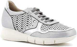Fiorella Made in Italy Donna Sneakers Traforate con Lacci (Argento)