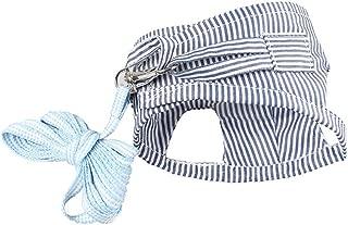 POPETPOP Adjustable Small Pet Harness and Leash - Soft Cotton Stripe Chest Strap Vest - Small Pet Supplies for Guinea Pig, Chinchilla, Rabbit, Rat, Squirrel, Hedgehog, Ferret - Size S (Blue)