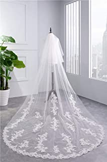 Wedding Veil,Bridal Veil Long Soft Veil Elegant Lace Edge,Cathedral Wedding Veils Long Lace Edge 2-Tier Wedding Veil with Metal Comb