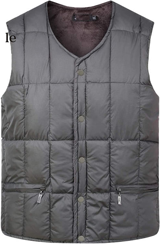 Men Down Cotton Vest Warm Sleeveless Jacket V-Neck Button Windproof Waistcoat ArmyGreen 4XL