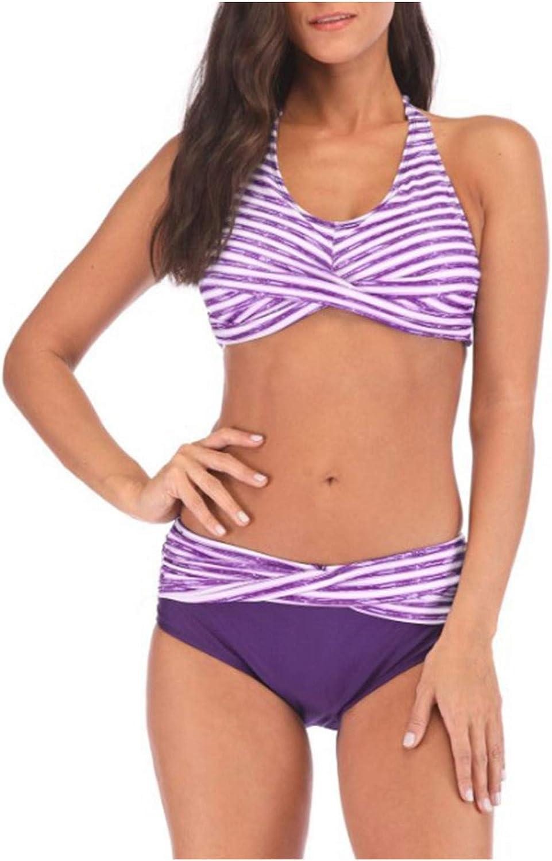 BEUU Plus Size Swimsuits for Women Stripe Print Tummy Control Swimwear Summer Athletic Two Piece Tankini Bathing Suits