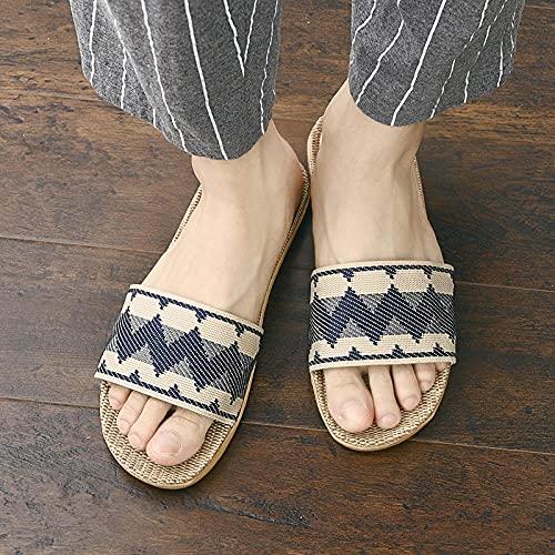 ypyrhh Planas Zapatos de Playa y Piscina,Cuatro Estaciones, Zapatillas de Lino casera, Zapatillas Antideslizantes Resistentes al Desgaste-Azul_44-45,Chanclas Hombre Verano