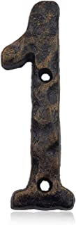 5.5 Inch House Address Numbers- Solid Cast Iron Metal Door Gate Number- Unique Hammer Appearance with Individual Irregular Handcraft Antique Brass Finish (Number 1)