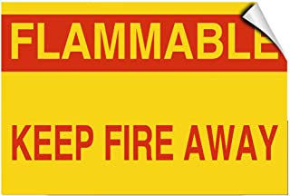 Flammable Keep Fire Away Style B Hazard Flammable Label Decal Sticker 10 Inches X 14 Inches