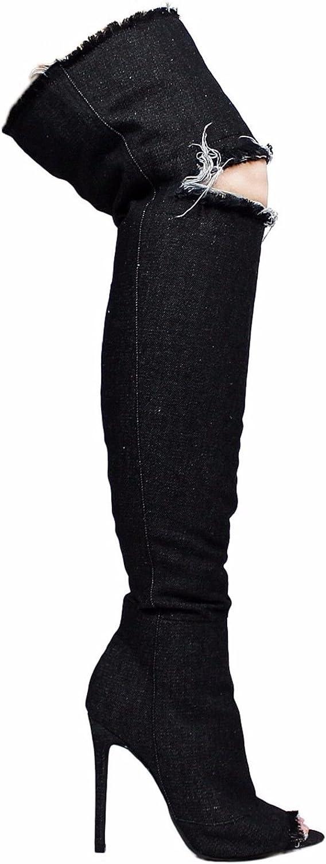 Liliana Barbara-13 Thigh High Over Knee Denim Open Toe Stiletto Heel Boot