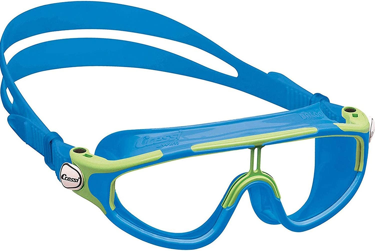 (Light blueee Lime) - Cressi Baloo - Premium Swim Goggle Kid's Mask 2 7 Years - Made in