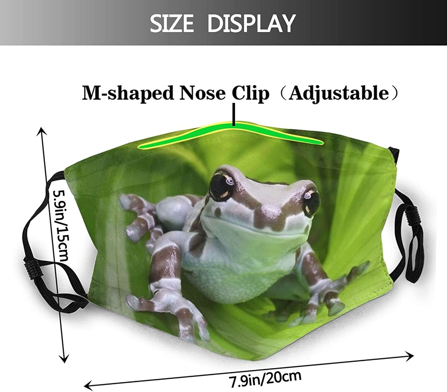 2pcs Funny Animal Tree Frog Face Mask Fashion Dustproof Scarf Breathable Reusable Washable Bandana With 4 Filters For Unisex