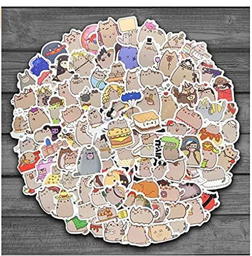 MDGCYDR Pegatinas Coche 100 Uds Pegatinas De Gato De Dibujos Animados Bonitos para Snowboard Portátil Equipaje Nevera Coche-Estilo Papelería Vinilo Calcomanía Decoración del Hogar Pegatinas