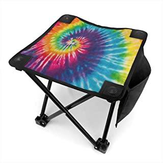 SLHFPX Abstract Swirl Rainbow Tie Dye Small Folding Camping Stool Lightweight Chairs Portable Seat for Adults Fishing Hiking Garden Beach BBQ Hunting Outdoor with Storage Bag