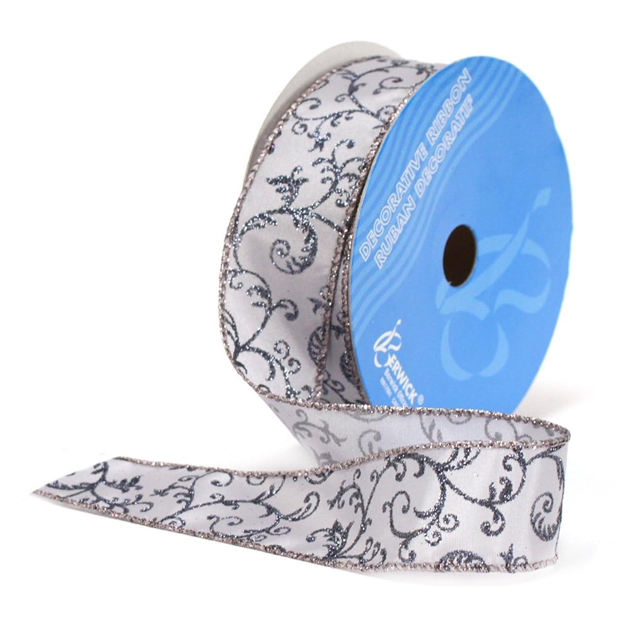 Berwick A13220-09025-B070 Monofilament Edge Parisian Craft Ribbon, 1-1/2-Inch Wide by 25-Yard Spool, Pewter