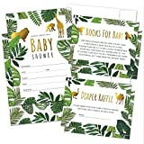 Set of 25 Tropical Baby Shower Invitations, Diaper Raffle Tickets, Baby Shower Book Request Cards with Envelopes | Greenery Jungle Safari Animal Invites for Gender Reveal Party, Boys and Girls