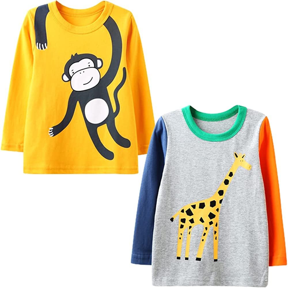 Toddler Boys 2 Pack Shirts Long Sleeve Cotton Tee Casual Cartoon Graphic Round Neck Loose Fit Athletic Kids Tops