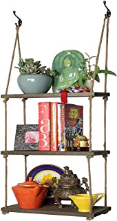 Prime Decor Dark Wood Swing Storage Shelves - Jute Rope Organizer Rack - Rustic Home Decor Bookshelf - Window Plant Shelves - Floating Collectibles Display - Decorative