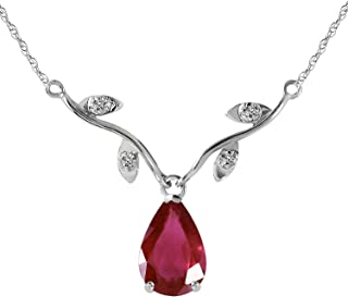 14K Solid White Gold 1.52 Carat Ruby and Natural Diamond Pendant Necklace Vine Design