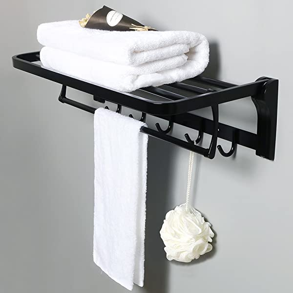 Alise Towel Rack Bathroom Folding Shelf With Swing Towel Bar And 5 Hooks Heavy Duty Wall Mount SUS304 Stainless Steel Matte Black