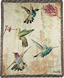 Manual Woodworker and Weavers Hummingbird Floral Tapestry Throw