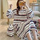 HUANSUN 2020 Nuevocamisón deCoral deInvierno para Mujer, Ropa de Dormir Suelta de Gran tamaño para Estudiantes, camisón Largo cálido de Franela para Mujer, 6209, M