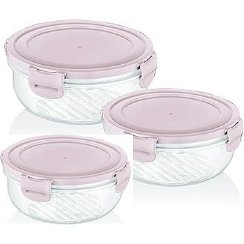 BAGER 2 x 3er Set Frischhaltedosen Vorratsdosen, Mikrowellengeeignet, Luftdicht, Klickverschluss, BPA frei, 800+1350+2250ml