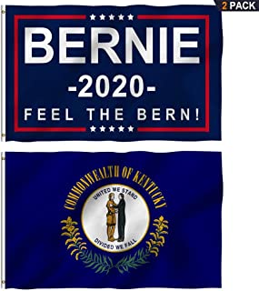 Ryaody Kentucky Flag Bernie Sanders 2020 Feel The Bern Novelty Outdoor Indoor Yard House Garden Premium Polyester Double Stitched 3x5 Ft 2 Pack