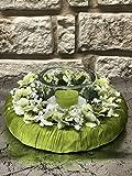 Tidschdeko Tischdekoration Nr.41 Tischgesteck elegant, Gesteck mit Teelicht und Kranz apfelgrün Sommer moderne Tischdeko Sommerdeko - 3
