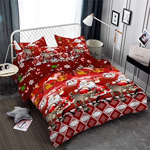 Junsey 3D Christmas Bedding Duvet Cover Sets Twin Size Santa Claus Reindeer Bedding,3Pcs Snowflake Quilt Cover Kids Cartoon New Year Decoration Pillowcase