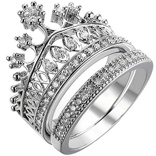 XAHH Women 18K White Gold Bridal Set Eternity Wedding Ring Princess Crown CZ Band Size 10