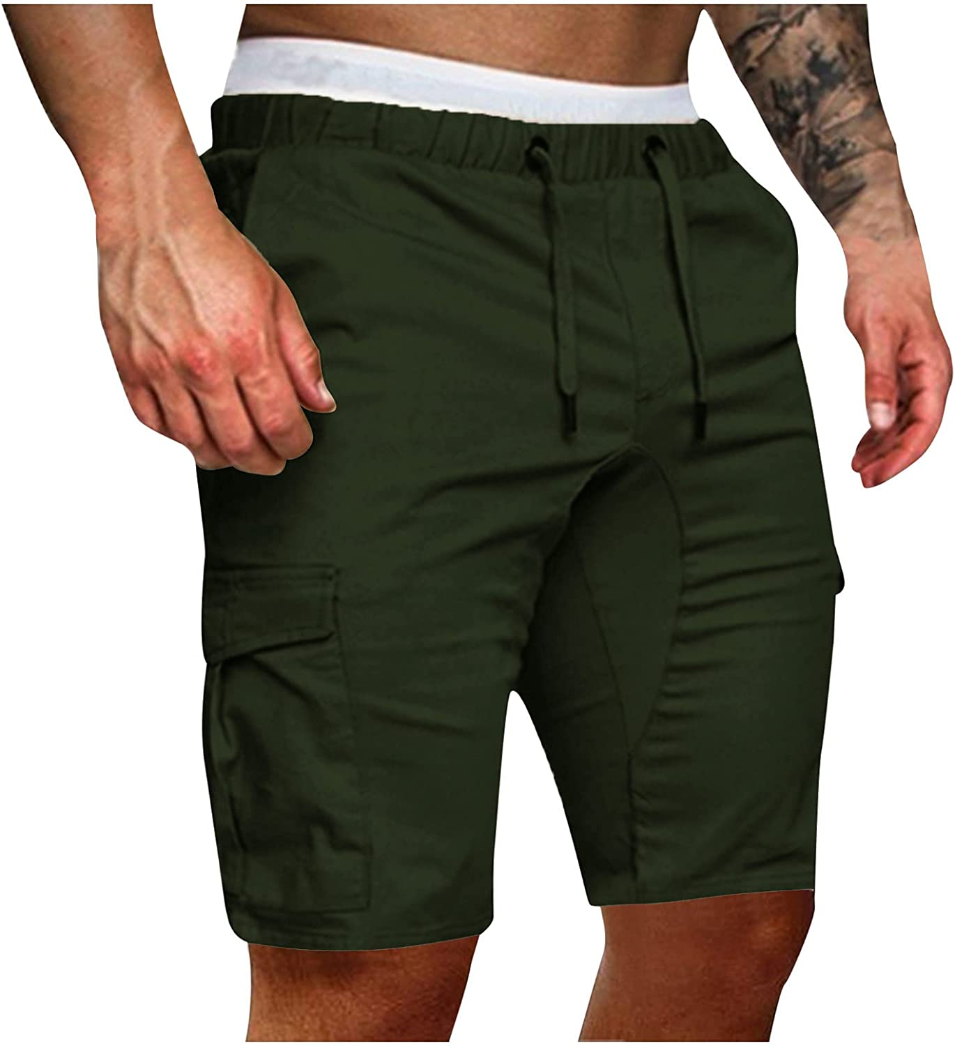 Beshion Mens Shorts Casual Stretch Elastic Waist Outdoor Lightweight Work Shorts Solid Color Lace-up with Multi Pockets