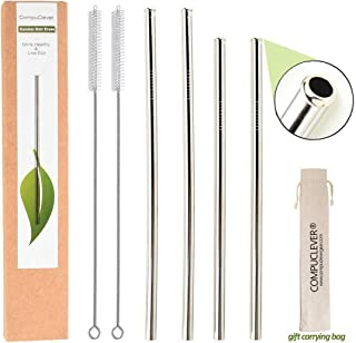 """Reusable Metal Straws for Drinks, 4 Set of Stainless Steel Straws for 20 30 oz Tumbler, Eco-friendly Extra Long Straws with Anti-scratch Tips,BPA Free(2x9.5""""+ 2x10.5""""+2xBrushes+1xTravel Case) Straight"""