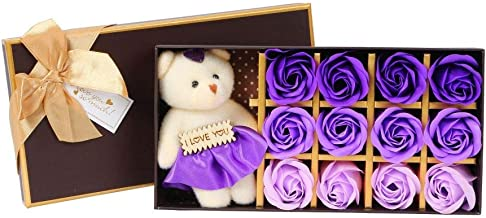 Scrafts Purple 12 Scented Bath Soap Rose Petals & Teddy Bear Gift Box Set