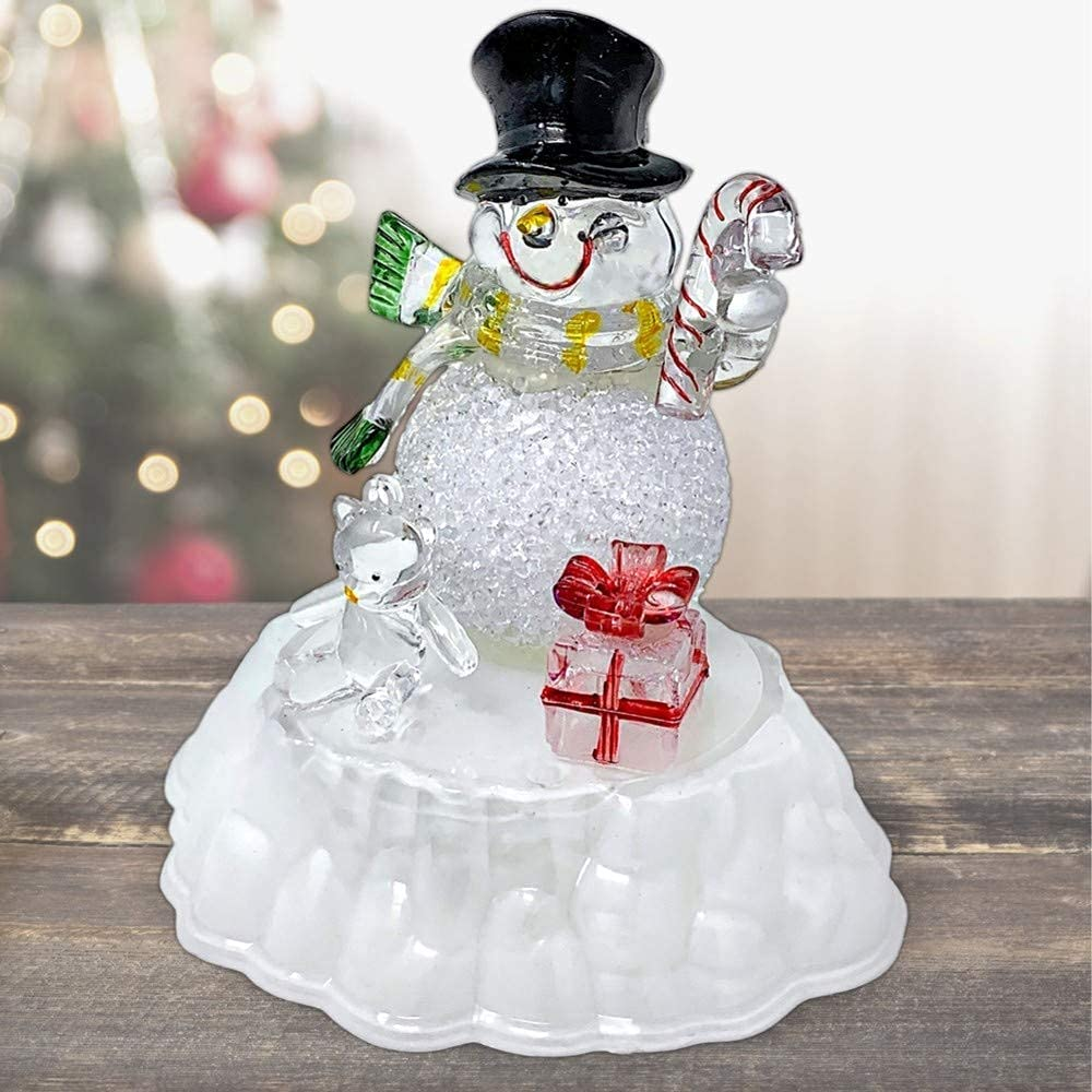 Max 72% OFF Snowman Figurine LED Acrylic Snowmen Changing Same day shipping Light-up Color Chr