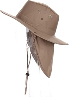 Wide Brim Booney Hat- Mens Sun Hat w/Neck Flap- UV Sun Protection- Fishing, Hiking, Camping- Small to XLarge