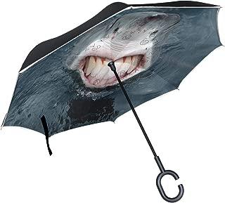 Reverse Umbrella Shark Animals Teeth Windproof Anti-UV for Car Outdoor Use