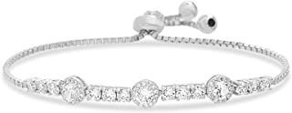 Sterling Silver Laboratory Created Opal and Cubic Zirconia Adjustable Tennis Style Bridal Bracelet for Women (Various Colors)